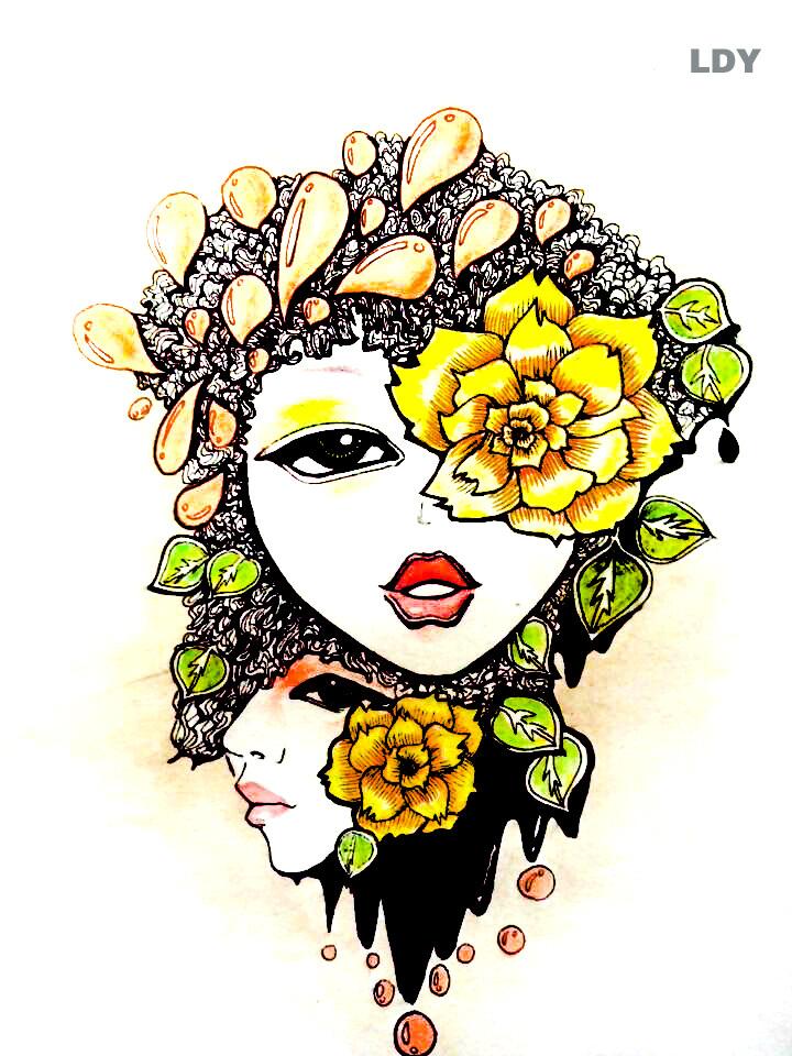 彩色手绘《重来 》|插画|其他插画|刺仙人掌301