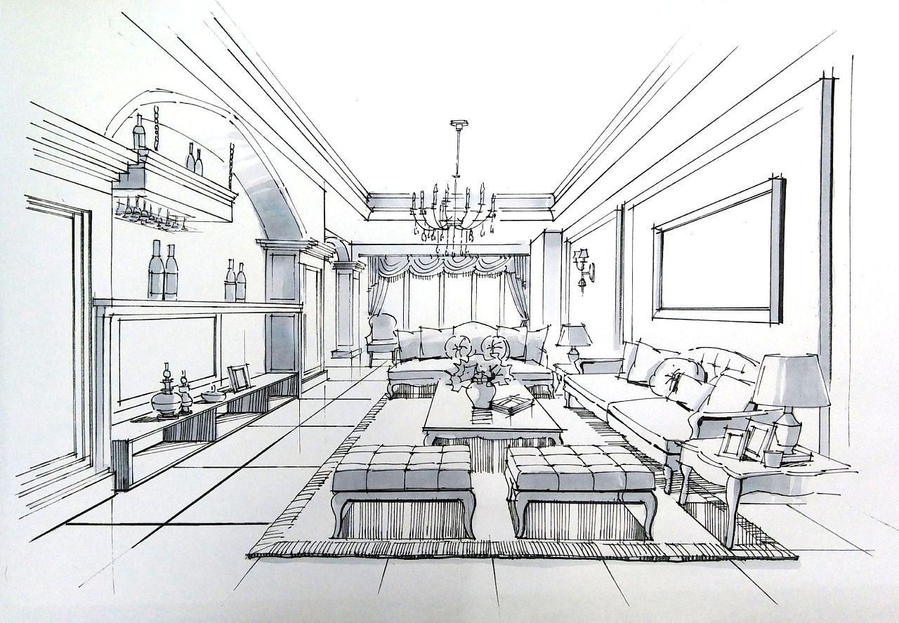 室内手绘效果图表现步骤示范|空间|室内设计|一叶手绘