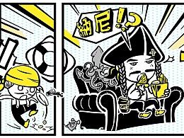 捷克士海盗主题快餐店插画