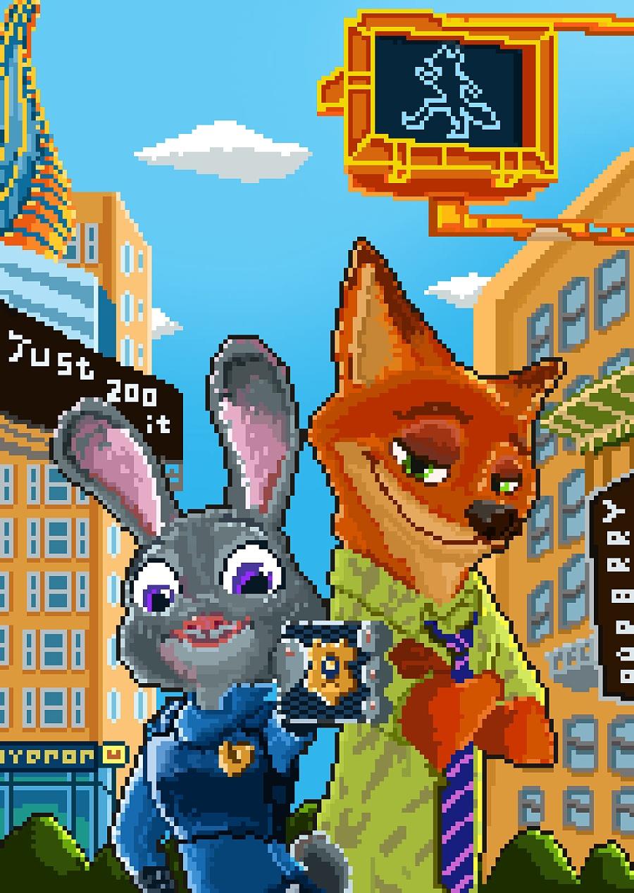 原创作品:疯狂动物城 朱迪和尼克图片