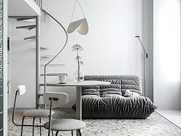 25.6㎡莫斯科极简白loft小公寓,清新居所