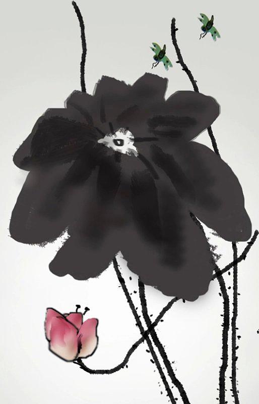 荷花水墨画—ps鼠绘图片