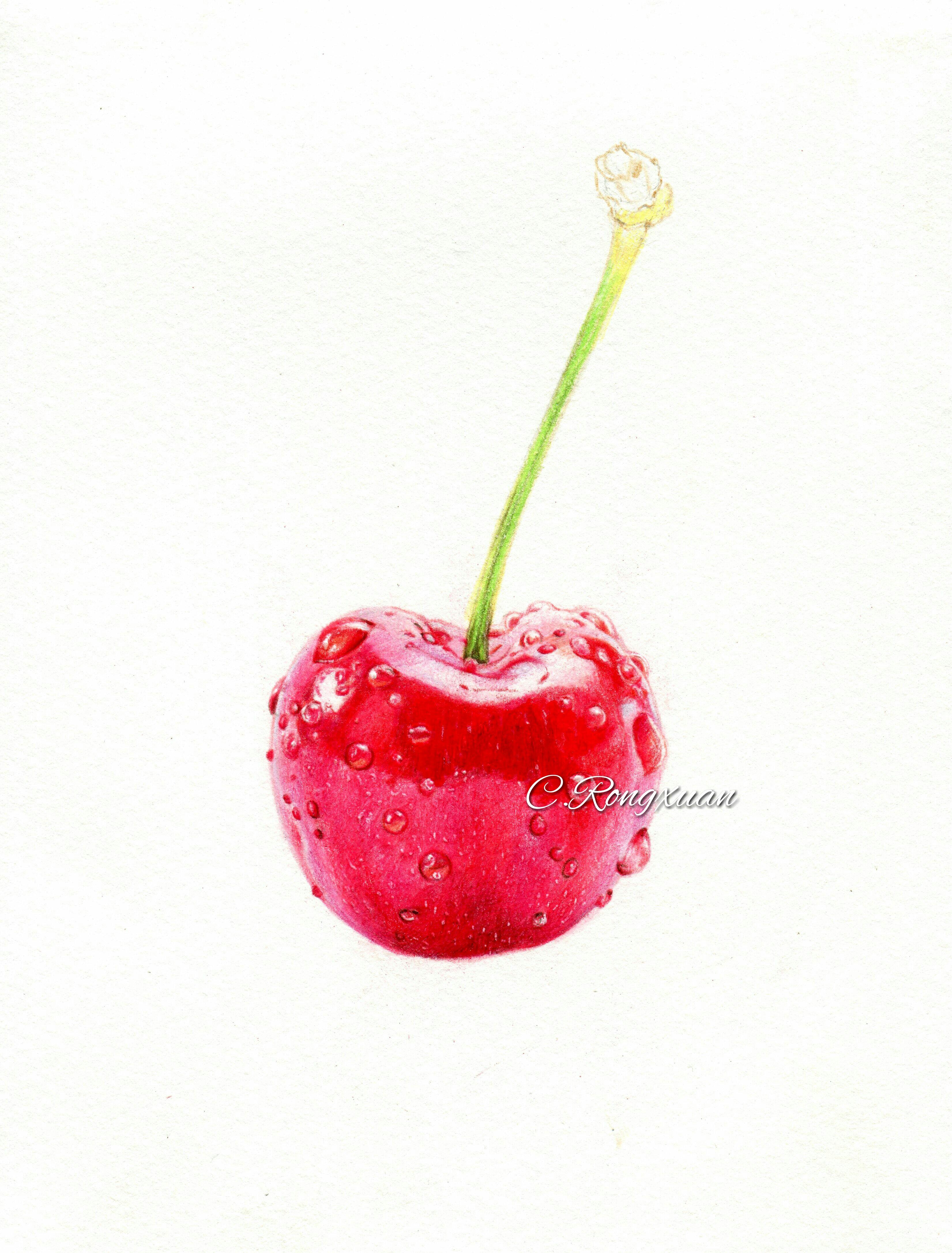 【溶萱手绘――彩铅美食】红樱桃