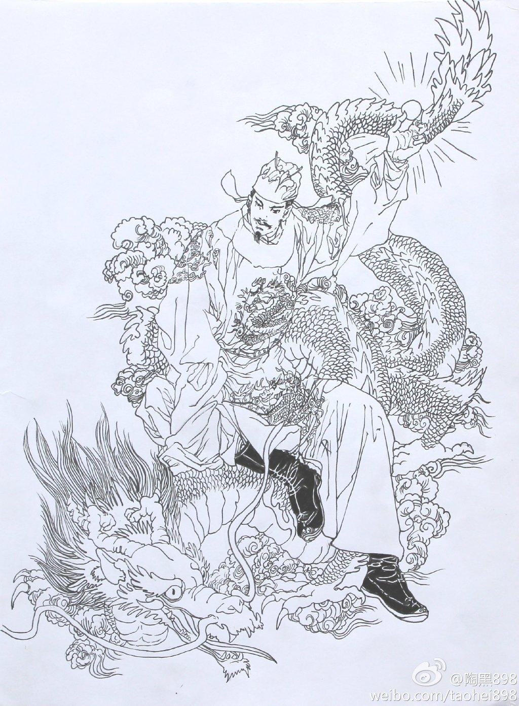 黑白插画 龙凤呈祥