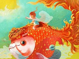 关于金鱼和菊花的插画