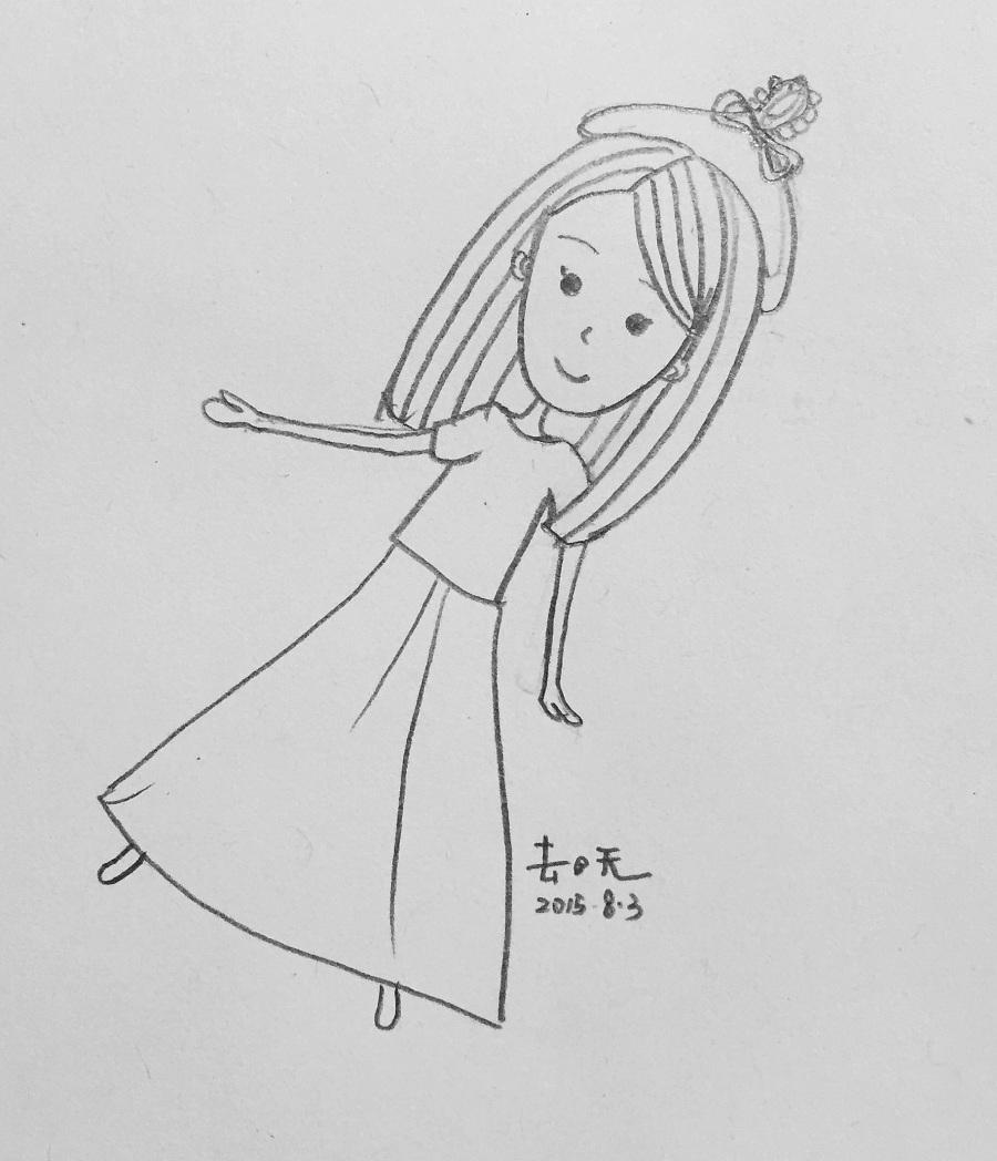 简笔画小女孩图片可爱卡通图片(12张)_简笔画大全_千千花图片网