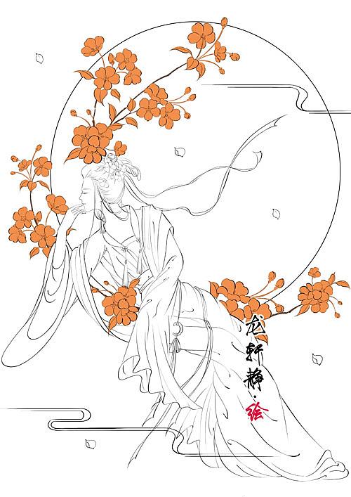 唯美古风美人插画——花月美人系列之海棠睡月