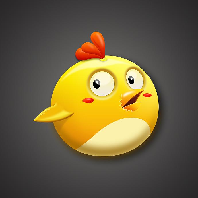 拟物icon临摹–惊讶的小鸡|ui|图标|two兔是只二兔子