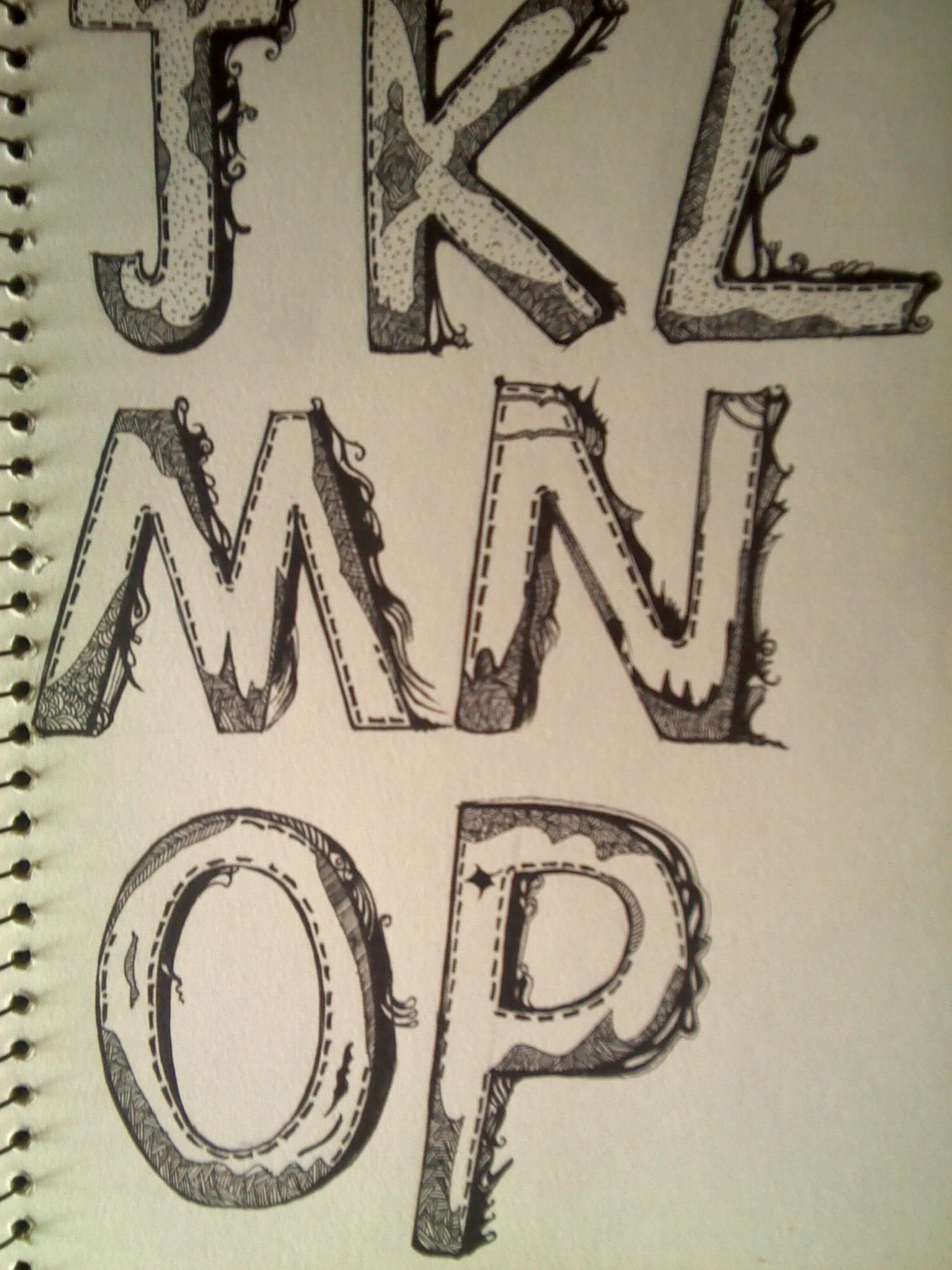 手绘字体26个英文字母