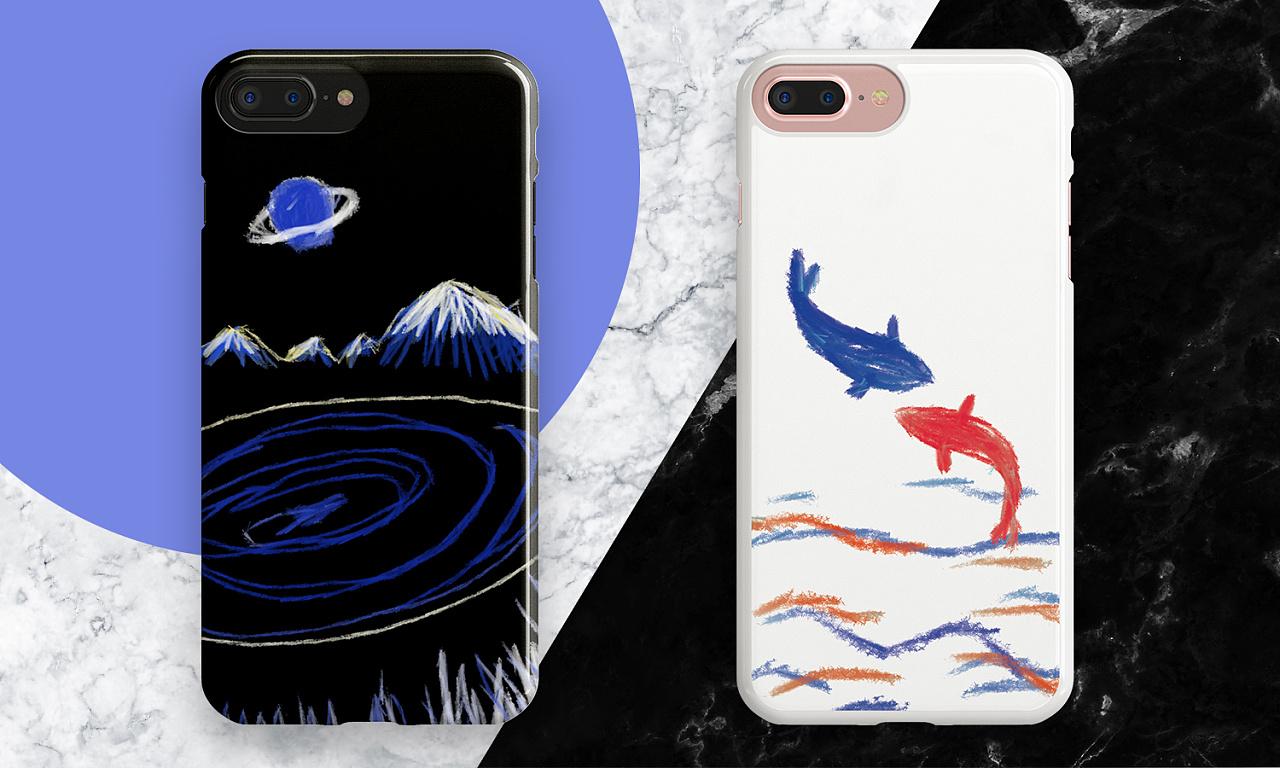 手机壳设计-手绘插画