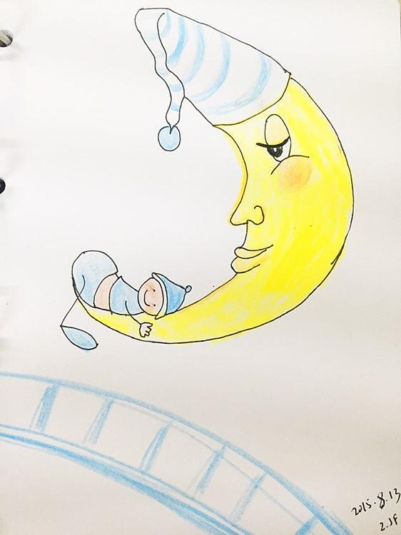 手绘彩铅—《晚安月亮》