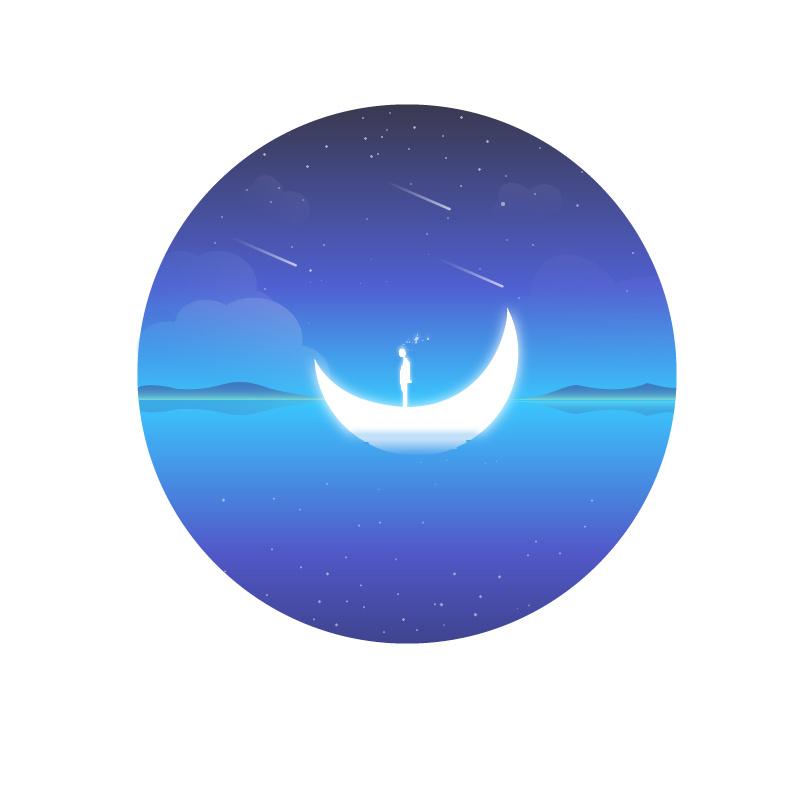 马克笔手绘月亮