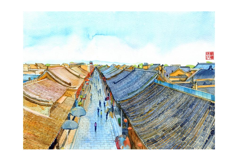 手绘城市系列——《山西平遥》