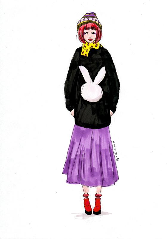 服装手绘临摹及部分原创画稿|绘画习作|插画|rinka