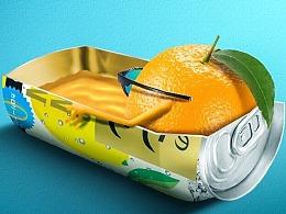 PS-夏天趣味橙子饮料创意合成教程思路