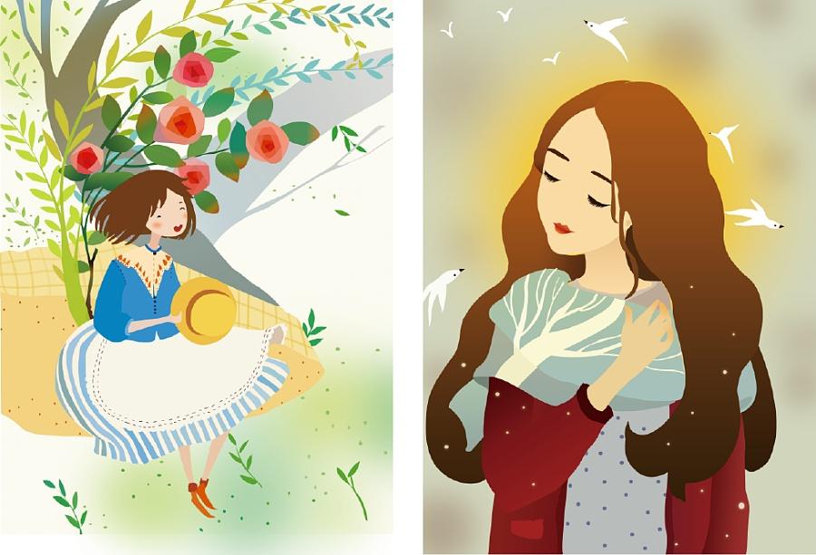手绘插画《梦游伊甸园》