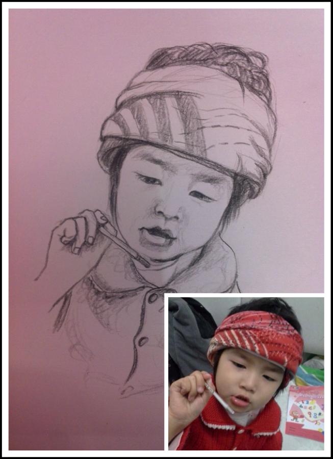 手绘 铅笔画照片,小宝宝们|素描|纯艺术|benbendouya