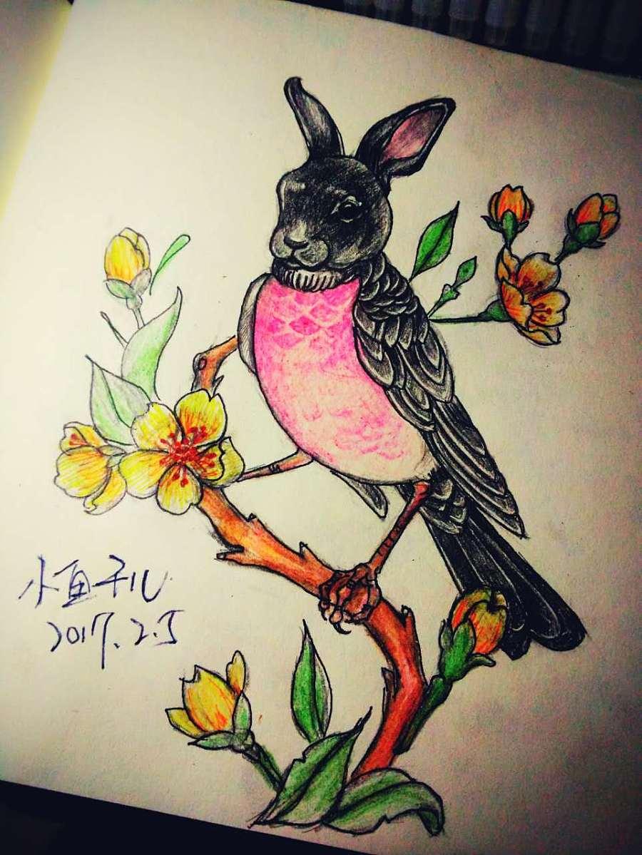 铅笔手绘纹身线条手稿
