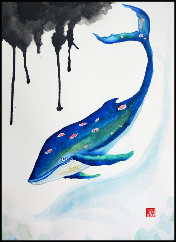 水彩插画拒绝海洋污染对鲸鱼的危害水彩插画图片
