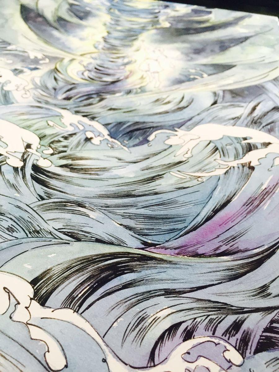 黑白插画手绘海浪