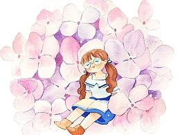 花间少女水彩插画