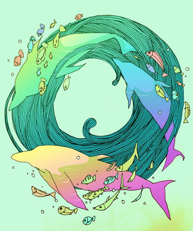 原创作品:手绘海豚