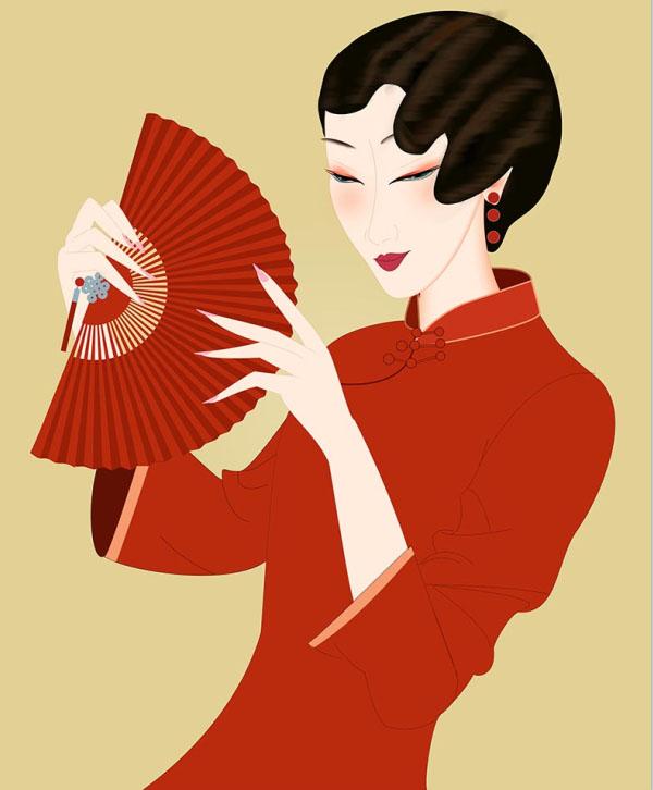旗袍美女 民国美女 拿扇子的美女