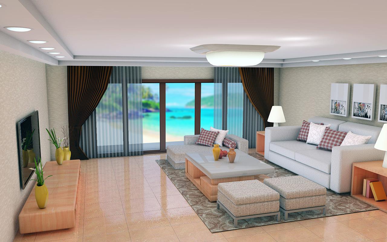 c4d客厅效果图设计图片