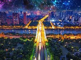 金匮大桥夜景 航拍