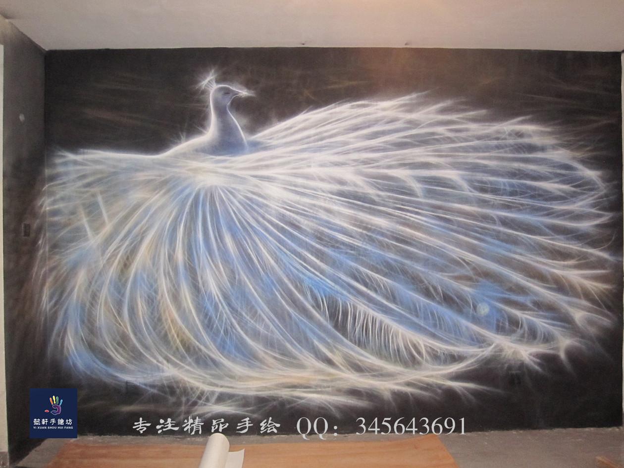 孔雀|其他|墙绘/立体画|懿轩手绘墙 - 原创作品