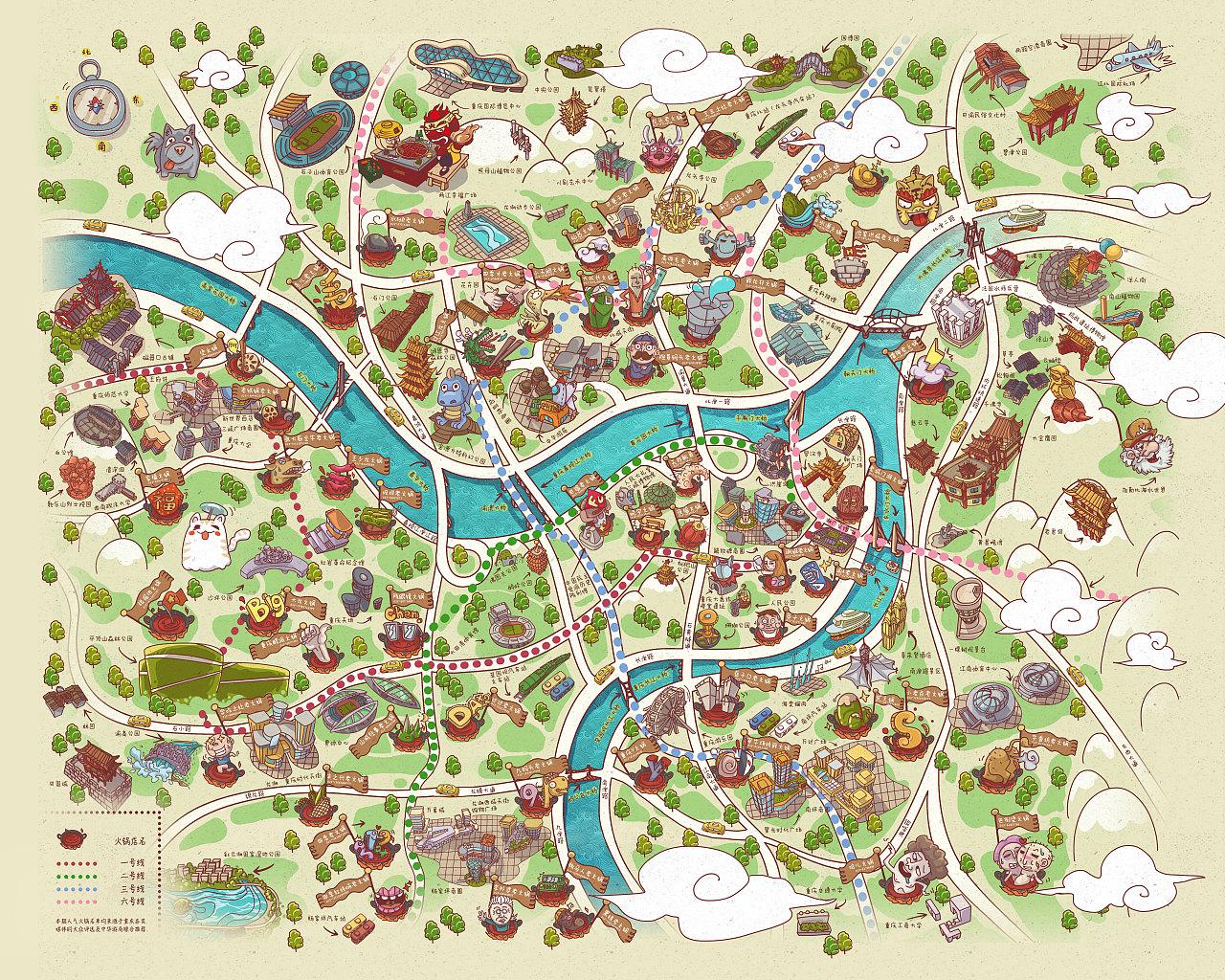 重庆火锅地图|插画|商业插画|dengjibibi - 原创作品图片