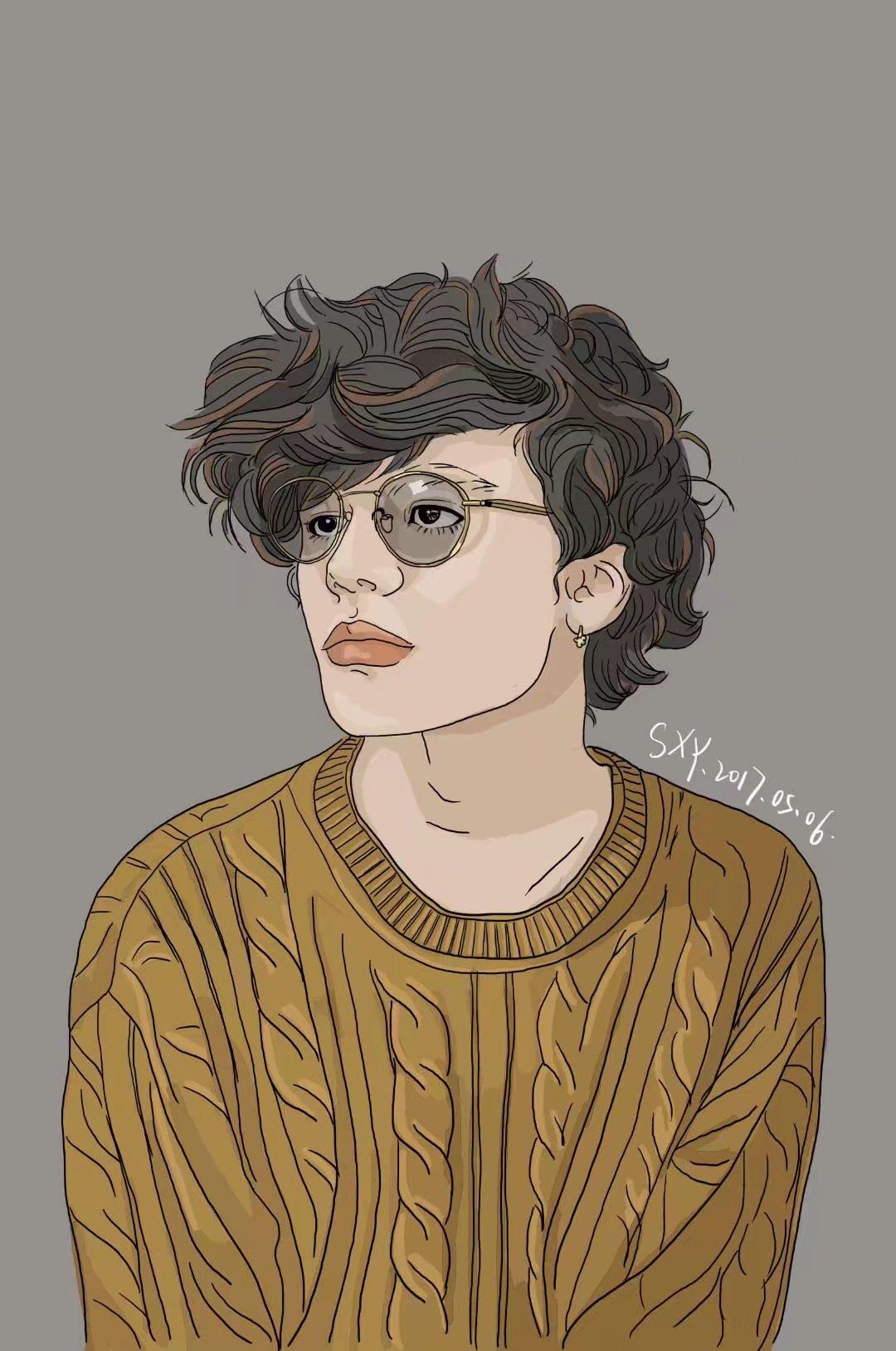 戴眼镜的男孩