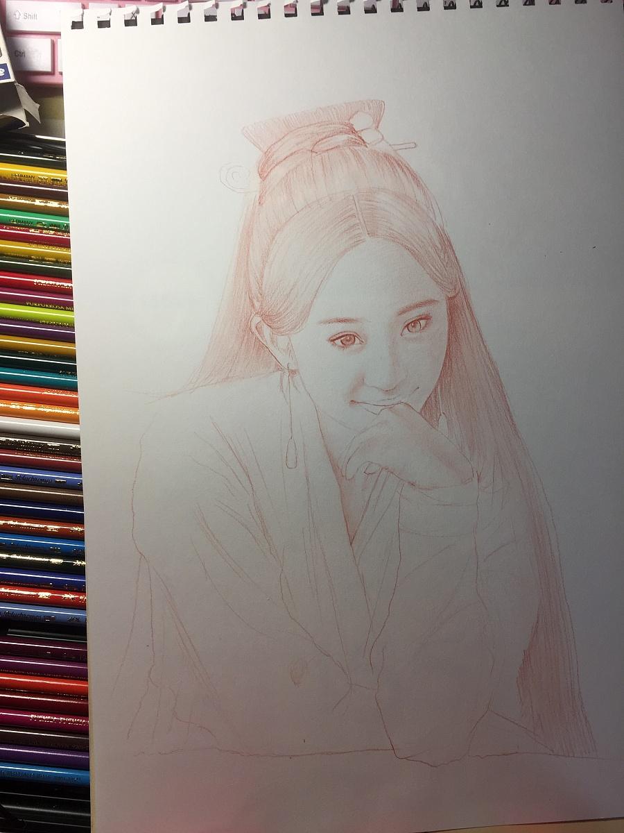 杨幂彩铅人物肖像|彩铅|纯艺术