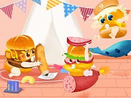 麦当劳《堡堡治愈馆》形象&主题店插画展示