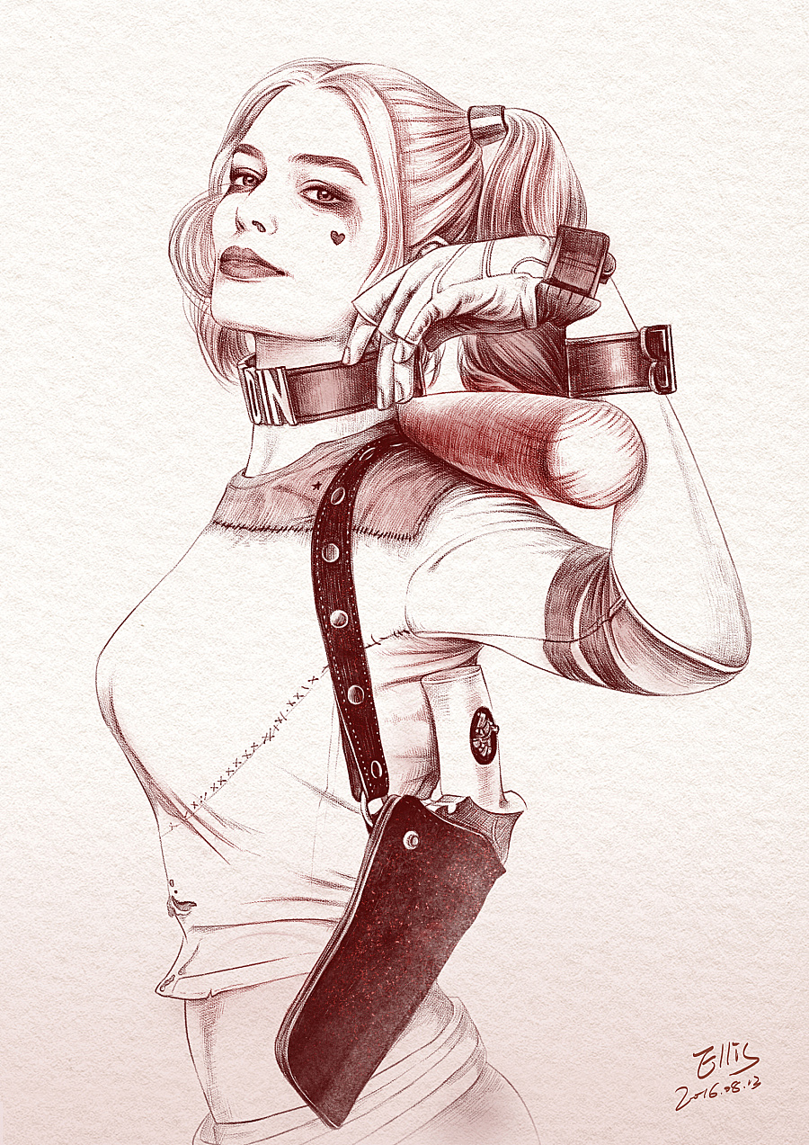 查看《PS手绘《自杀小队》小丑女:哈莉·奎茵》原图,原图尺寸:1654x2339