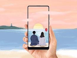 海边旅行 | 小米MIX2 海报创意大赛插画作品