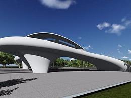 厦门沿海路-景观式人行天桥设计