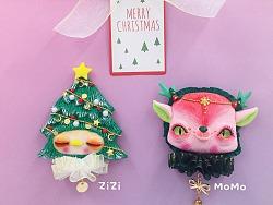 小亚小怪原创圣诞树ZIZI和圣诞小鹿MOMO