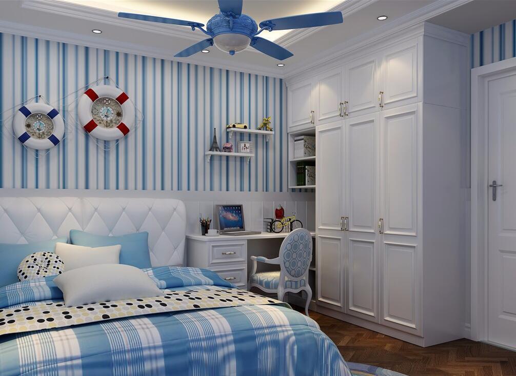 儿童衣柜效果图_10㎡地中海风格儿童房设计效果图,衣柜和书桌转角一体|空间 ...