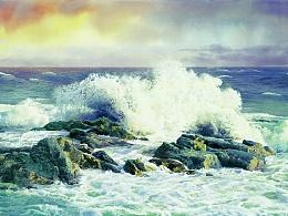 用留白的方法画海浪,比用留白液画的要自然生动。