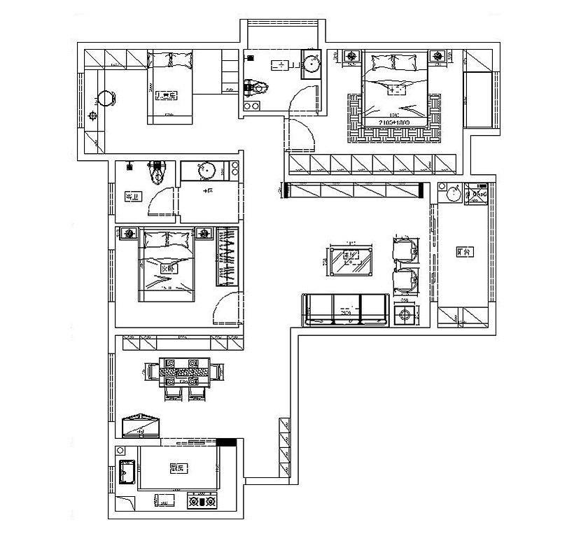 美巢龙湖锦艺城装修130平三室两厅户型设计平面图