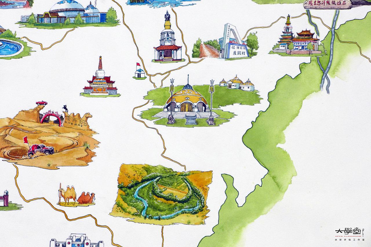《鄂尔多斯旅游手绘地图》(已商用)