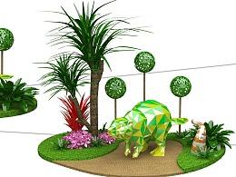 商业美陈,绿植DP,玻璃钢动物。