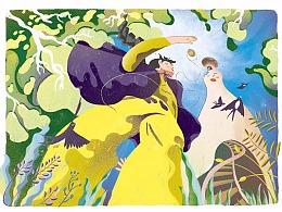 好儿童画报插图——藏进蘑菇里的外婆