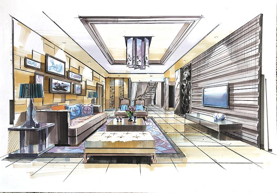 客厅走廊马克笔手绘效果图