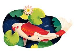 手绘质感的荷塘鲤鱼插画(临摹)