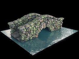 C4D自然风景案例-石桥-冰块-深林
