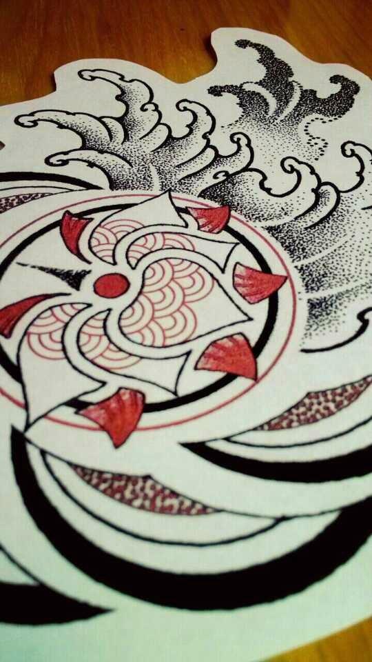纹身手稿——元素荷花 点刺海浪