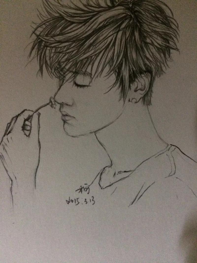 鹿晗漫画手绘铅笔