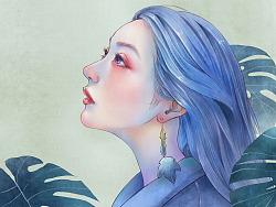 《蓝》-人像插画一组
